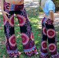2017 de moda de verano las mujeres pantalones casuales de cintura alta de pierna ancha palazzo pantalones flare pantalones tallas grandes floral pantalón clásico