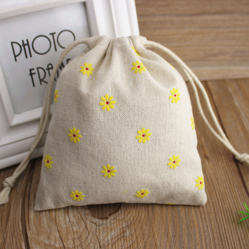 Yellow Daisy Printed Linen Jewelry Gift Pouch 8x10cm 9x12cm 11x14cm 13x17cm Pack Of 50 Birthday Wedding Party Candy Bag Sack