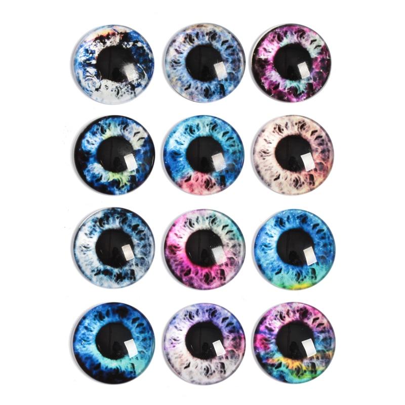 10-30pcs 10mm-30mm Round Handmade Dragon Cat Eyes Photo Glass Cabochons Base Setting Jewelry Charms Accessory No.1035(China)