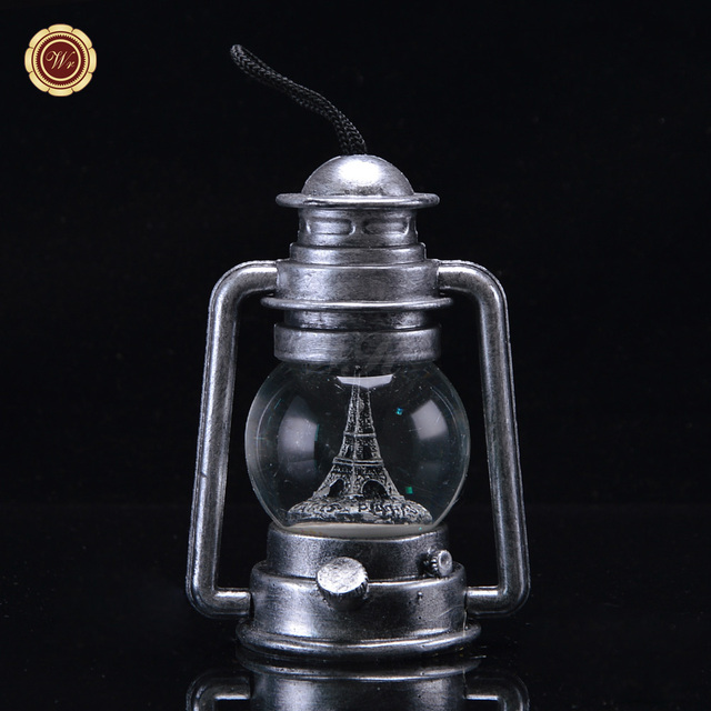 US $16.88 |WR Home Office Decor Silver Plated Oil Lamp Models Crystal Ball  Gifts Zinc Alloy Building Tower Crafts Desk Ornaments 10x7x14cm In ...