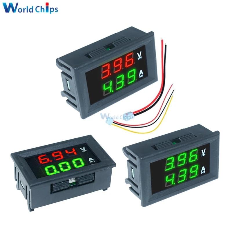 Diymore 2PCS DC 100V 10A LED Amperemeter Digital Voltmeter Blau Rot Doppelfarbiges Display Voltmeter Amperemeter Multimeter 2 in 1