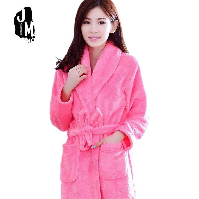 2cb614eb04 2018 New Bathrobe Women Winter Long Robes Warm Bathrobe Long Sleeve Flannel  Robe Female Sleepwear Lounges Homewear Pyjamas