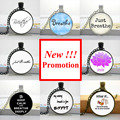 2015 New Fashion Breathe Necklace Breathe Jewelry Quote Necklace Glass Cabochon Dome Pendant