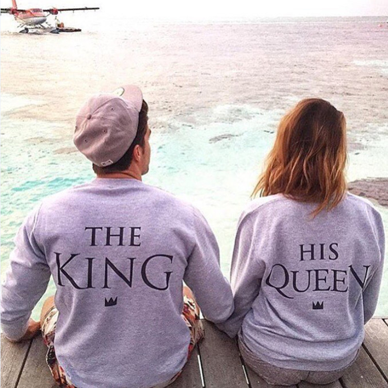 H1071 2016 New Fashion Couples Sweatshirts KING QUEEN Casual Long Sleeve Pullovers Hoodies Lovers Sweatshirt