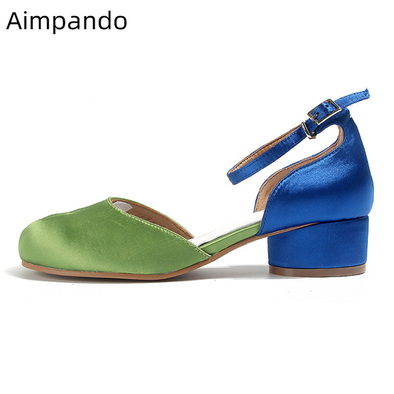 Green Blue Mixed Color Split Toe Pumps Women Unique Round Heel Ankle Strap Side Cut Outs Med Heels Fashion Spring Shoes WomanGreen Blue Mixed Color Split Toe Pumps Women Unique Round Heel Ankle Strap Side Cut Outs Med Heels Fashion Spring Shoes Woman