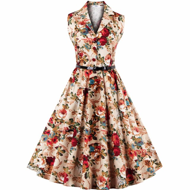 c4f259b9440 Vintage Dresses 60s 50s Summer 2019 Fashion Peter Pan Collar Floral Audrey  Hepburn Plus Size Women Rockabilly Dress S-3XL 4XL
