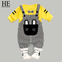 Baby Boy Clothing Long Sleeve Bow T Shirt Stripe Bib Pant Spring Autumn 2017 Newborn Baby