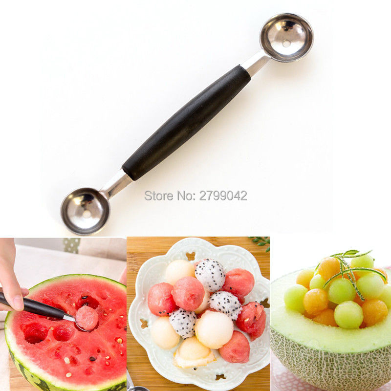 Hot Stalinless Steel Dual-end Melon Baller Scoop Cuchara de fruta - Cocina, comedor y bar
