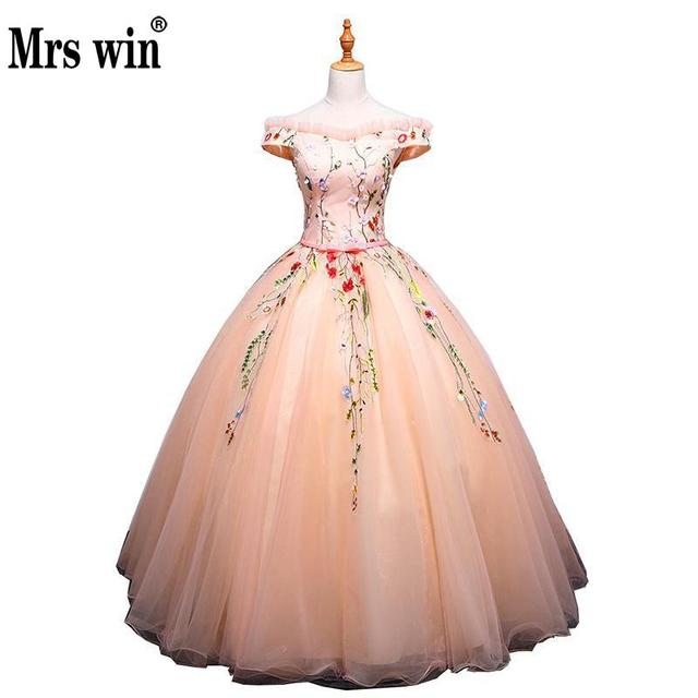 38e8a9ee169 Quinceanera Dresses 2018 New The Short Sleeve Luxury Embroidery Floor-length  Ball Gown Off The Shoulder Sweet Candy Color Dress