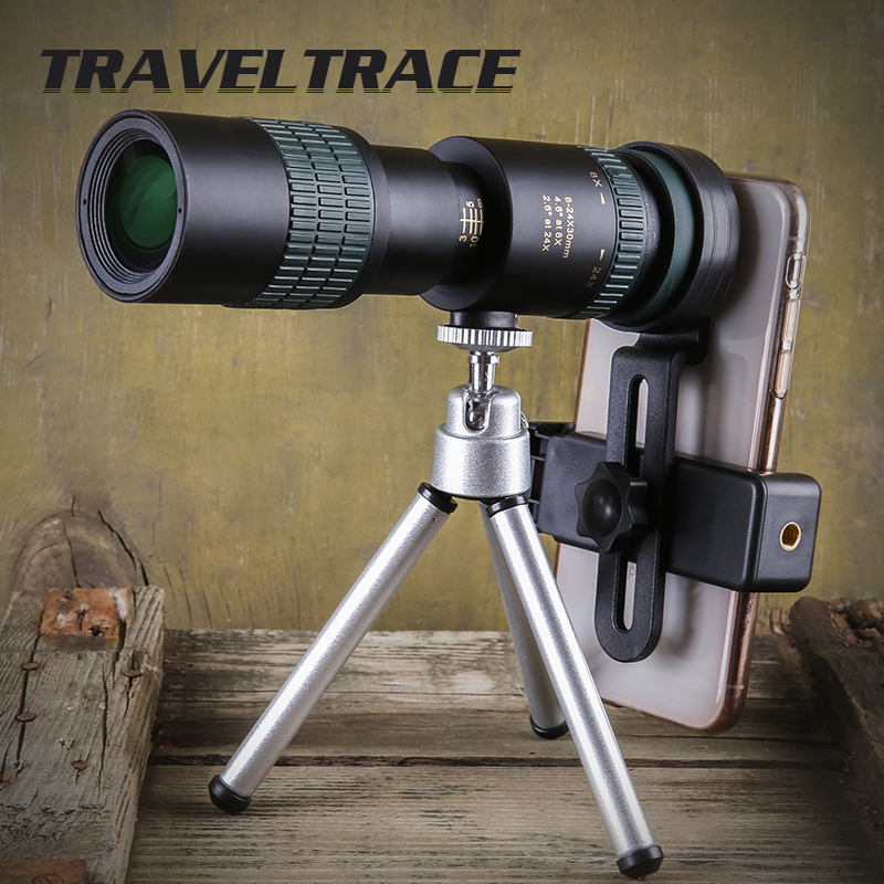 Monocular Zoom Telescope For Hunting Optics High Powerful HD Objective Lens Night Vision Variable Magnification Stepless 8-24X30