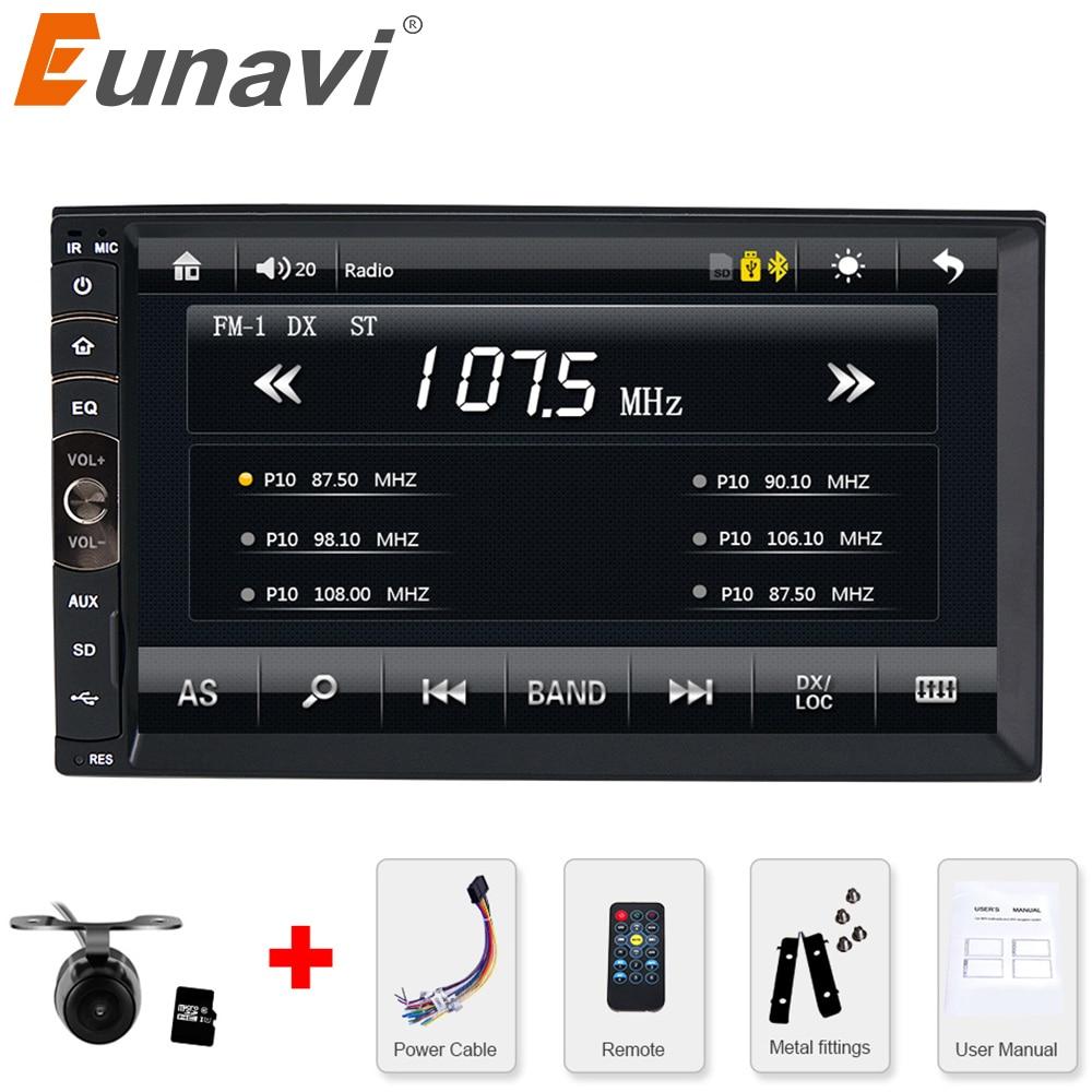 Eunavi 2 DIN автомагнитолы / GPS-навигаторе / МР3 / мр5 / USB / памяти SD / плеер громкой связи Bluetooth заднего вида после Сенсорный экран бесплатная система камера