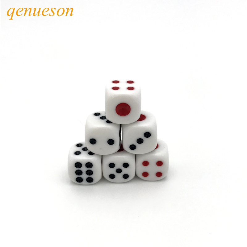 New 20Pcs/Lot High-quality 16mm Drinking Dice Red and Black Dots Rounded Corner White Dice entertainment game Dedicated qenueson