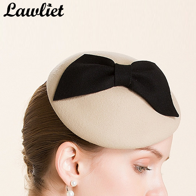 2408fbfc21604 New Camel Bow Ladies Beret Women Felt Wool Fascinators Cocktail Wedding  Church Pillbox Hat Party Wedding A317 -in Fedoras from Apparel Accessories  on ...