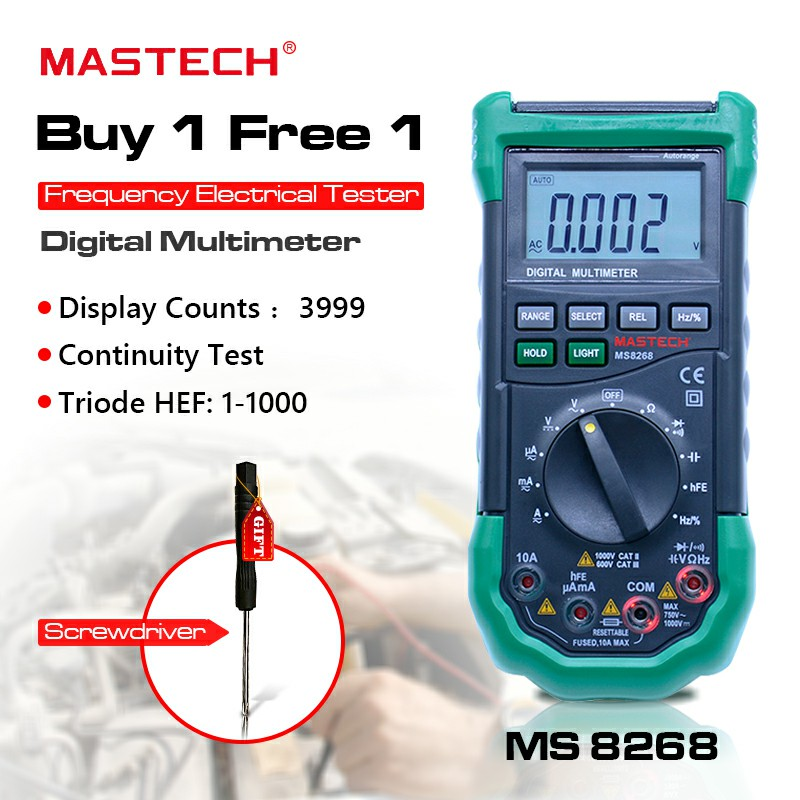Digital Multimeter MASTECH MS8268 Auto Range Full protection ac/dc ammeter voltmeter ohm Frequency electrical tester Multitester wozniak best v96e lcd digital automatic speech broadcast auto range digital multimeter full protection ac dc