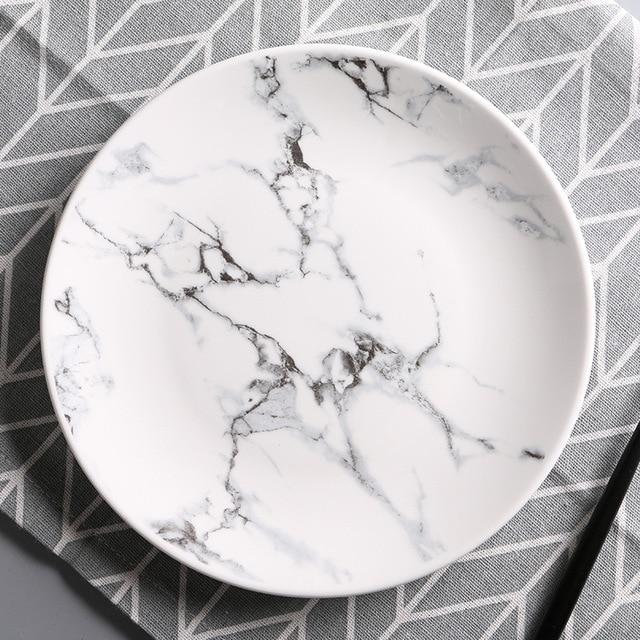 Chinese Tableware White Ceramic Plate Marble Pattern Porcelain Dish circular Food Dish Creative Lunch Plate Microwave & Chinese Tableware White Ceramic Plate Marble Pattern Porcelain Dish ...