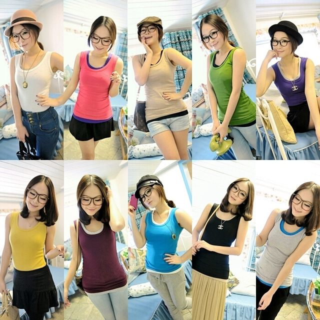 Crystal spring 2013 women's spring and summer candy color slim basic female vest tx263