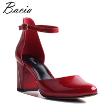 Bacia New Cow Leather Buckle Strap Heels Black&Red&Beige Pumps Footwear Genuine Leather Comfortable Fashion Shoes 35-41 VXB040