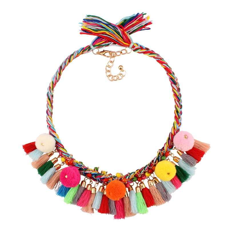 Florate Brand Colorful Tassel Statement Necklace 2019 New Handmade Ethnic Cotton Bead Ball Rope Chain Necklace For Women