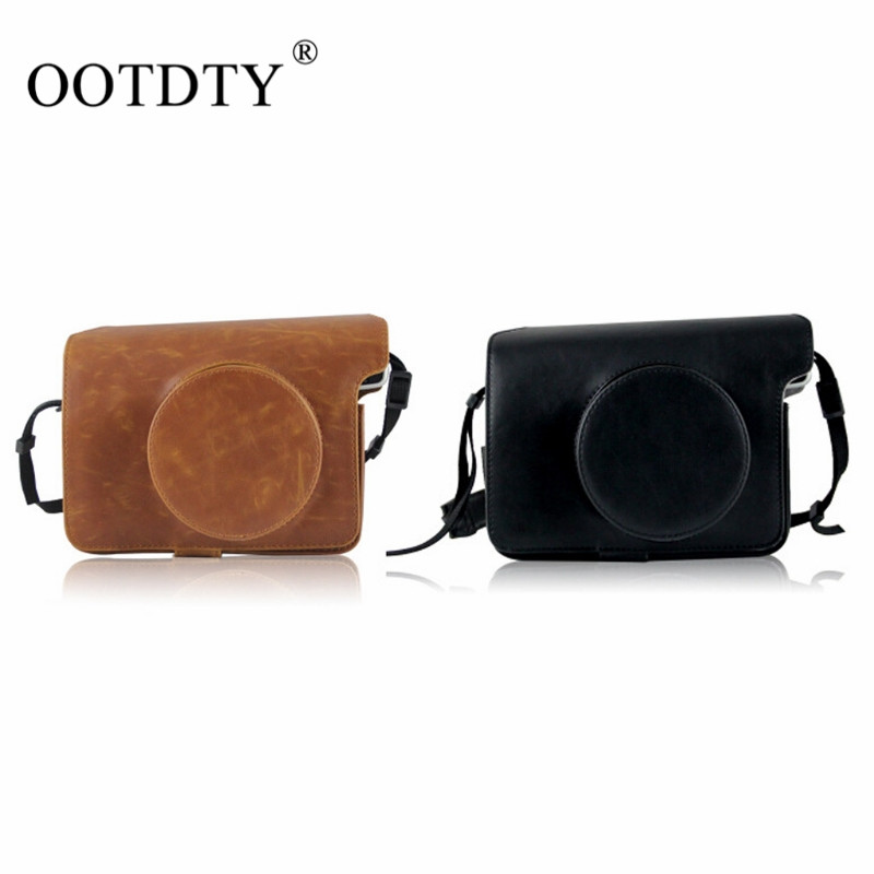 OOTDTY PU Leather Bag Case Cover Pouch Protector & Shoulder Strap for Polaroid Fujifilm Instax Wide 300 Instant Print Camera