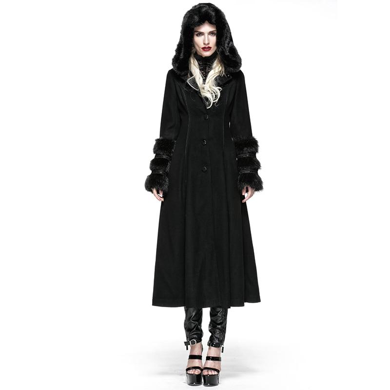 Gothic Lolita Style Two-wear Woolen Imitation Fur Coats Steampunk Autumn Winter Women Long Dress Coats Wool Jackets with Hat gothic lolita style two wear woolen imitation fur coat steampunk autumn winter fashion long sleeve hooded long jackets