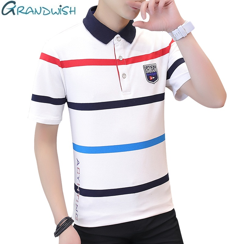 Grandwish Summer Casual Men's   Polos   Cotton Breathable Solid Short Sleeve Clothing Anti-pilling Striped Men   Polos   Shirts,NA019