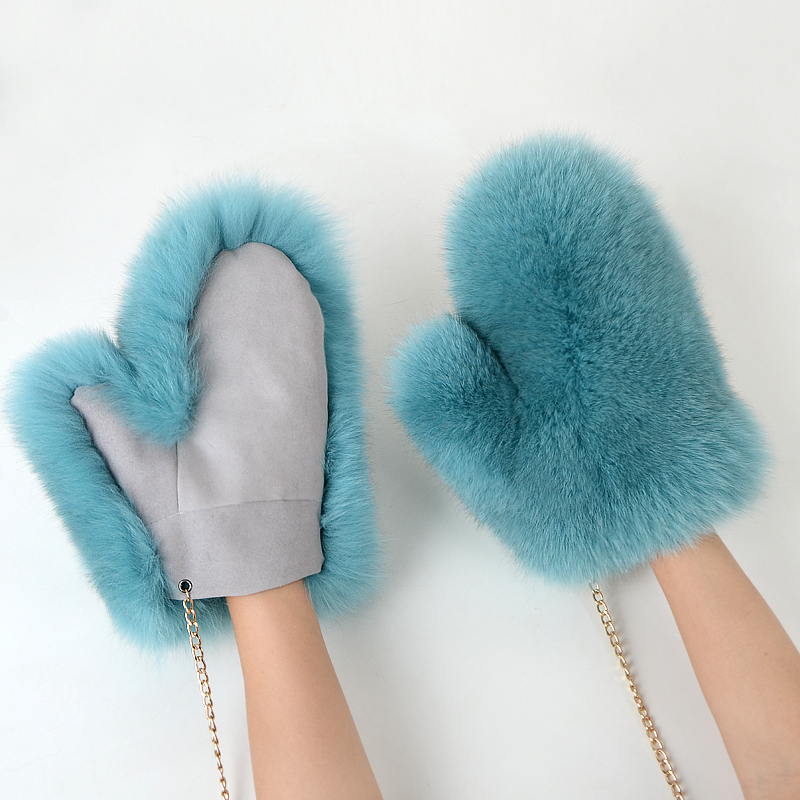 2018 new Women Fashion Brand New Genuine natural Woollen Fox Fur Covered Winter Gloves Mittens real
