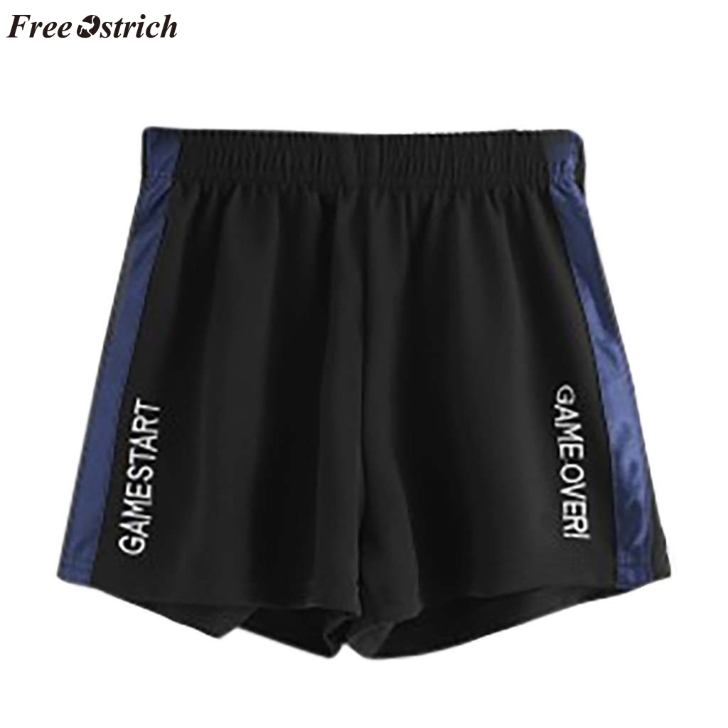 FREE OSTRICH Women fashion trend campus wind casual beach color matching letters in the waist loose   shorts   student sports   shorts