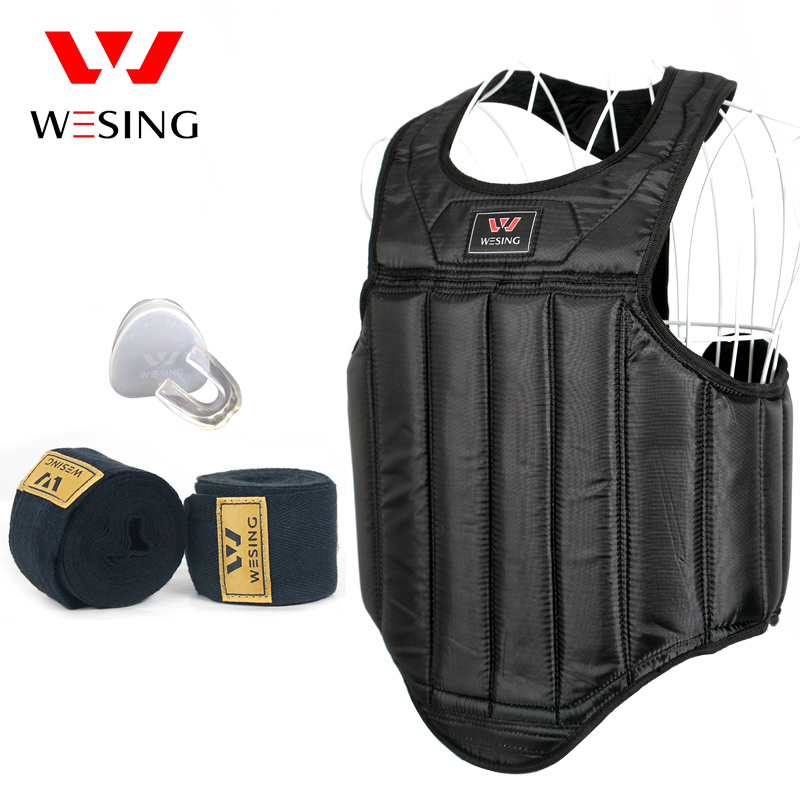 Prix pour Wesing sanda chest garde de boxe MMA poitrine protecteur oxford épaisseur kick de boxe garde du corps