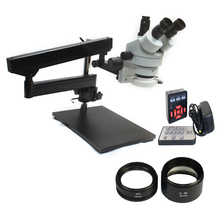 Simul-Focal 3.5X-90X Trinocular Articulating table Zoom Microscope 21MP HDMI Digital microscope camera 0.5X 2.0X Objective Lens цена и фото