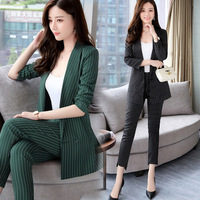 New fashion OL commuter professional women's long sleeves stripes two set