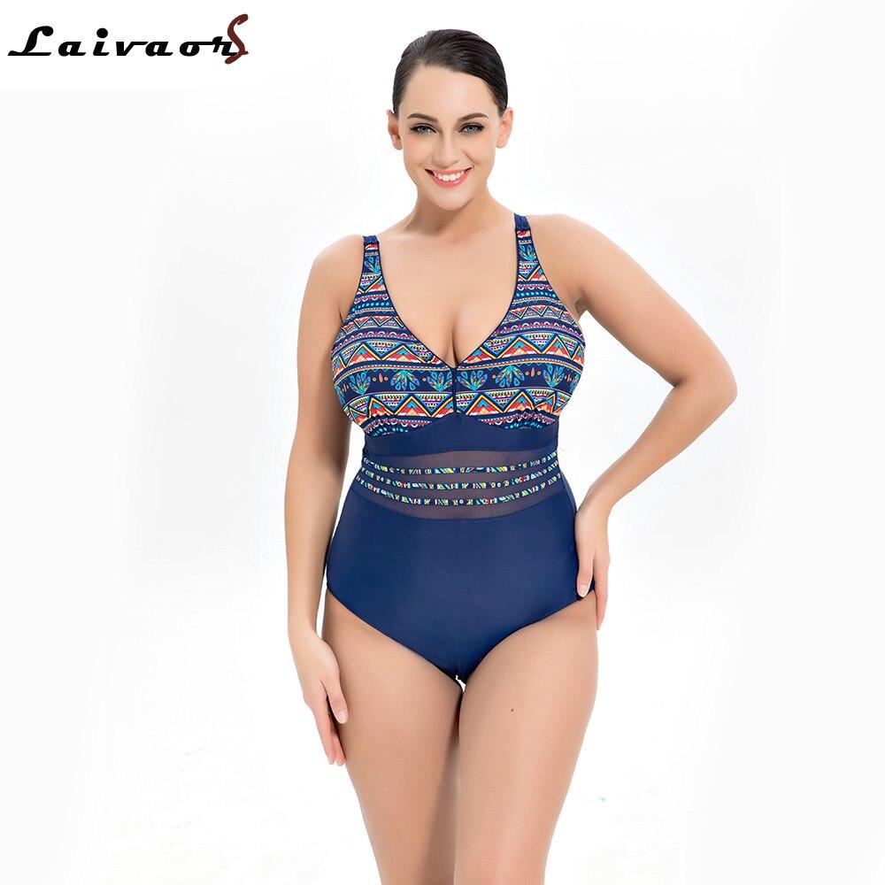Laivaors 2018 une pièce maillot de bain grande taille maillots de bain femmes Push Up maillots de bain imprimer Patchwork Vintage rétro maillot de bain grande taille