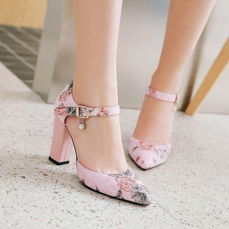 2018 Women Pumps High Heels Woman Shoes Brand Spring Pointed Toe Ankle Strap Pumps Flower Thick Heel Wedding Shoes Plus Size 45 5