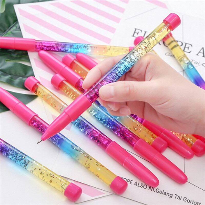 Analytical Novelty 0.5mm Rainbow Color Creative Ball Pen Fairy Stick Ballpoint Pen Drift Sand Glitter Crystal Pen For Girl Gift Stationery Office & School Supplies