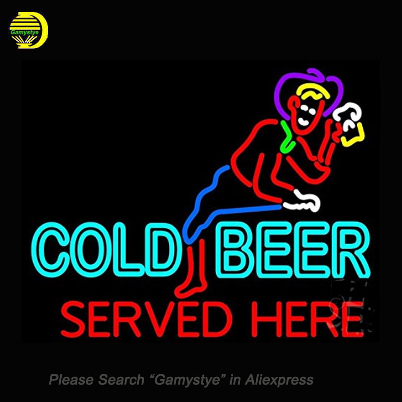 Neon Signs For Cold Beer Served Here Neon Bulbs Sign Handcraft Recreation Room Neon Light Advertise Beer Bar Pub Signs Lighted