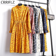 New 2019 High Elastic Waist Corduroy Vintage Dress A-line Women Full Sleeve Flower Plaid Print Dresses Slim Feminino CRRIFLZ