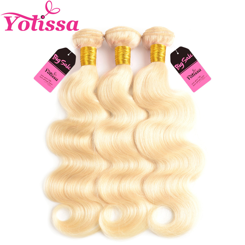 Yolissa Hair 613 Blonde Bundles 3 Pcs/Lot Brazilian Body Wave Human Hair Weave Bundles Remy Hair 8-24 Inch Free Shipping image
