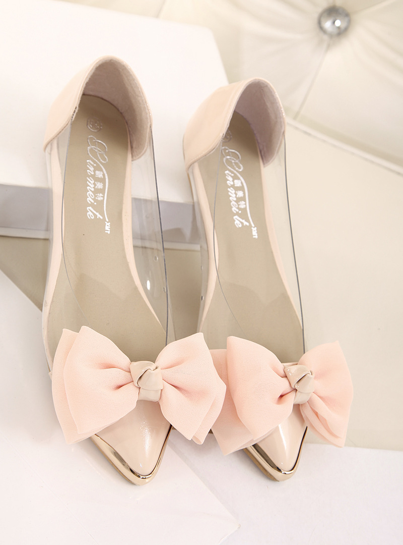 Princess Bow Transparent Film Metal Flat Shoes