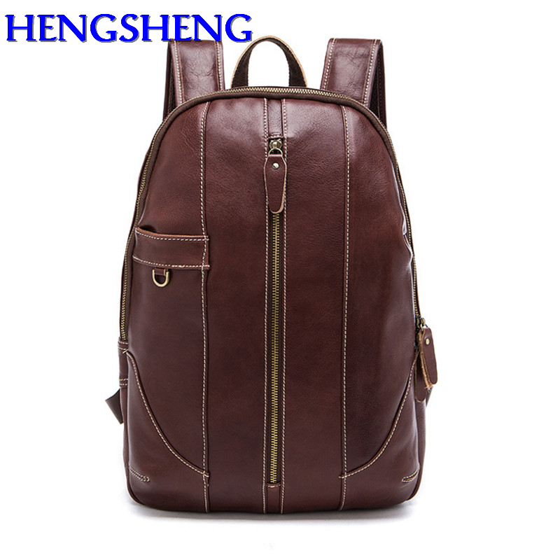 Здесь продается  Hengsheng top quality genuine leather men backpack for fashion cow leather students school bag of men genuine leather backpacks  Камера и Сумки