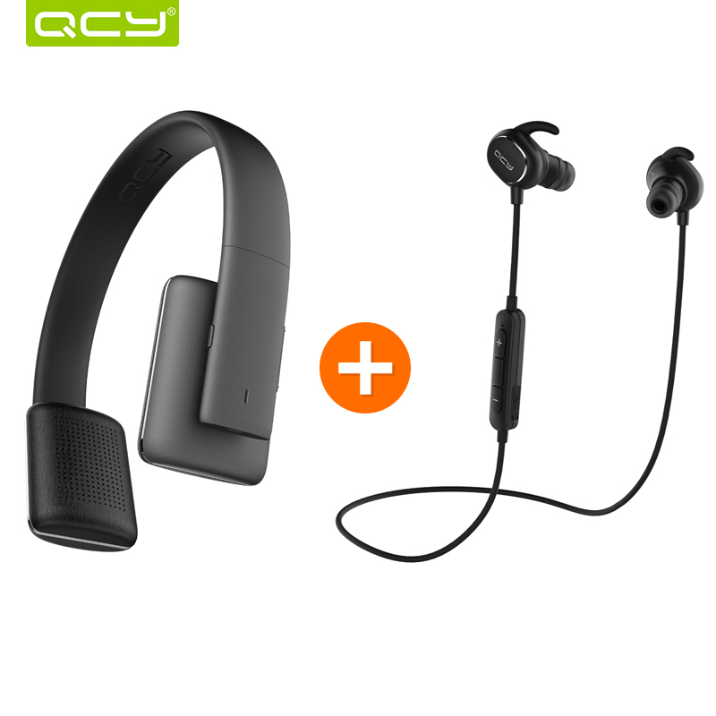 ФОТО QCY QCY50 noise cancelling headphones HIFI 3D stereo sound headset wireless bluetooth 4.1 and QY19 sports earphones for iphone