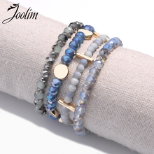 Joolim 4PCS/SET Pink Blue Bead Elastic Bracelet Set Charm Wholesale