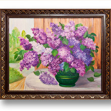 DIY Diamond Painting Needlework Square Full Embroidery Purple Lilac Flower Vase Pattern Home Decoration