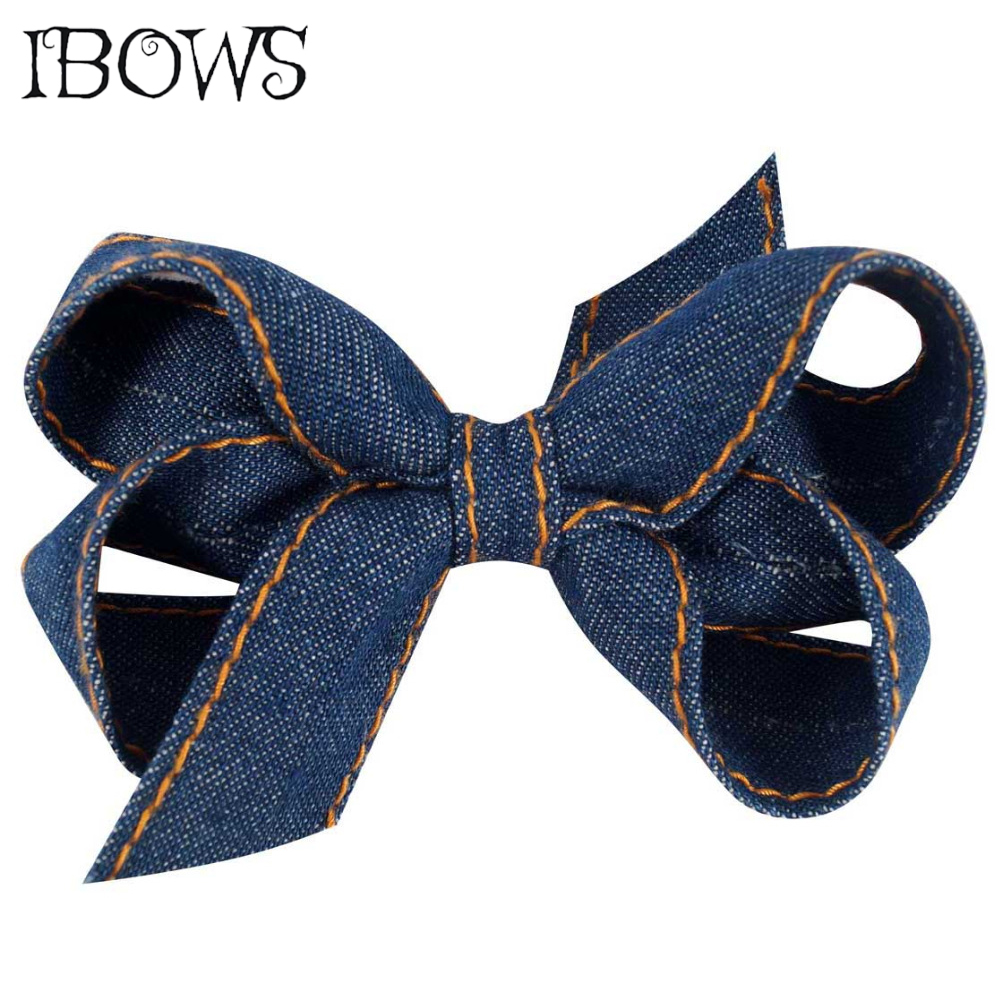 3 Inch Blue Color Knitting Denim Hair Bow With Clip For Girls Hairpins Handmade   Headwear   Hair Accessories