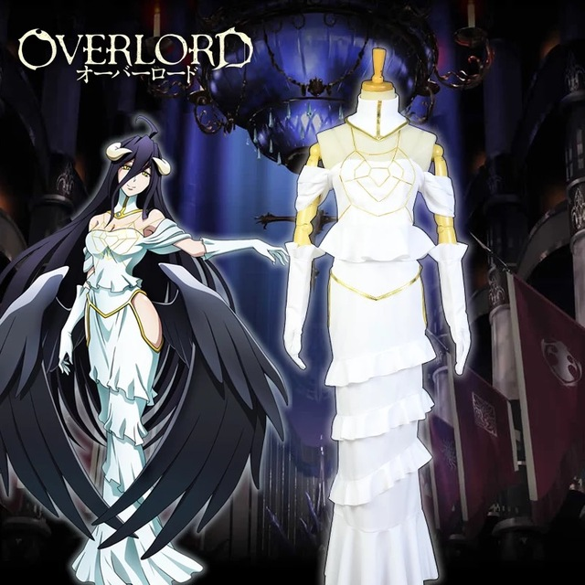 STOCK 2018 Anime OVERLORD Albedo Sexy Party Dress Cosplay Costume XS XL Japanese