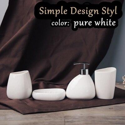 Gratis frakt Enkel design stil badrum 4st set vit keramisk tvätt - Hushållsvaror