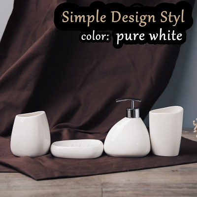 Free Shipping simple design style bathroom 4pcs set white ceramic wash toiletry kit cup+lotion bottle+Brush Holder+soap dish ...