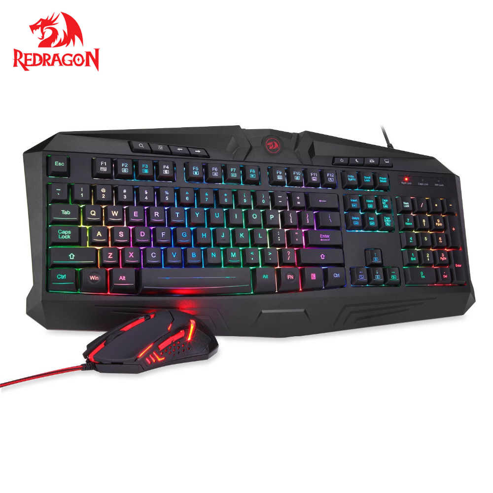 купить Redragon Gaming Keyboard Gaming Mouse Combo S101 RGB LED Backlit Keyboard and Mouse Set Gaming Mouse and Keyboard Silent онлайн