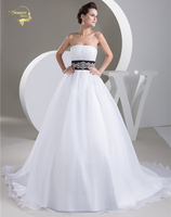 Jeanne Love A Line Wedding Dresses 2018 New HOT Organza Black Belt With Beading Strapless Bridal Gown Robe De Mariage JLOV75946