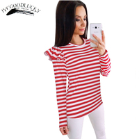 Cute T Shirt Female Long Sleeve Striped O Neck Fly Sleeve Autumn Women Tops All Matches