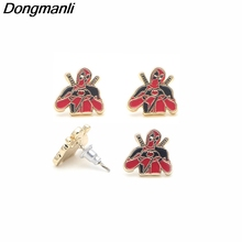 DMLSKY Deadpool Stud Earrings Women Fashion Enamel Jewelry Gifts Girls Charming Cute M2596