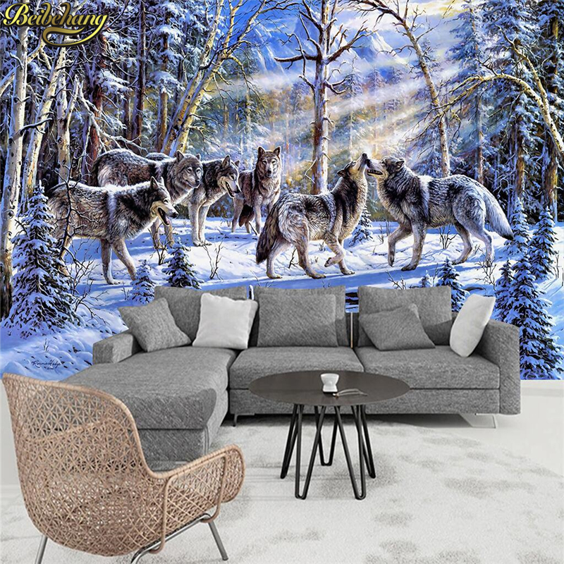 Beibehang Papel De Parede 3d Snow Group Wolf Photo Mural Wallpaper Living Room Cafes Bedroom Living Room Wall Paper 3D Flooring